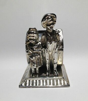 Antique Silverplate Figural Napkin Ring Kate Greenaway Girl and Boy - Miller