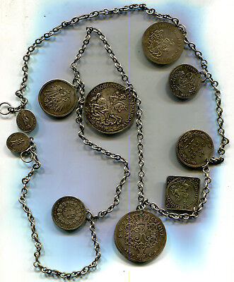 1890's Germany Liederhosen Medal Chain - 10 Medals