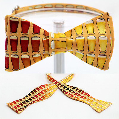"""BOW TIE """"BEER GLASSES""""100% Cotton-Handmade by Remarkable Bowties #Rem-FD-BR-1117"""