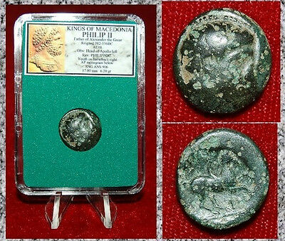 Ancient Greek Coin Of PHILIP II Alexander The Great Father Apollo On Obverse