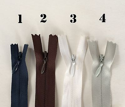 """Grey IV11 White Black 11/"""" Inch Closed End Invisible Nylon Zippers"""