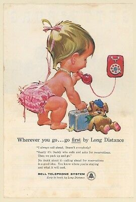 1961 Betsy Bell Phone Bear Suitcase Long Distance Bell Telephone System Print Ad