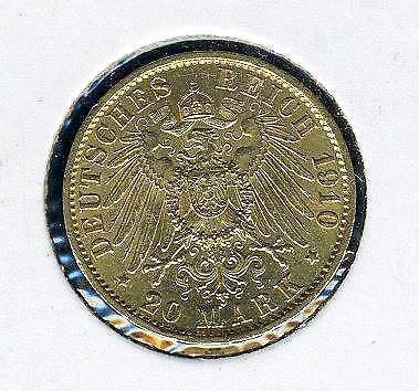 1910 A German Gold 20 Marks - Prussia