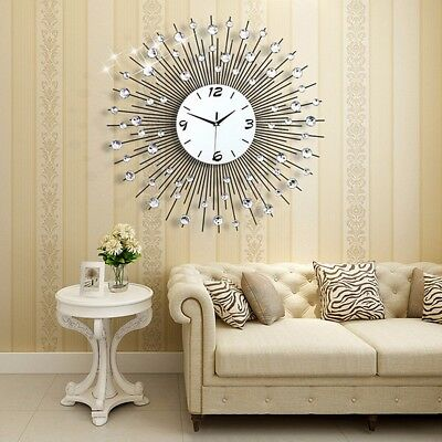 Siver Large Modern Diamond 3D Luxury Round Clock Art Metal Room Home Wall Decor