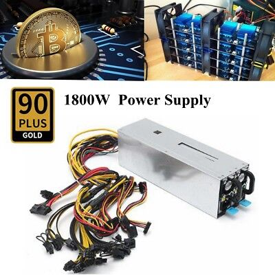 1800W 90 PLUS 94% Antminer Mining Power Supply 6 GPU BTC Coin Ethereum Miner