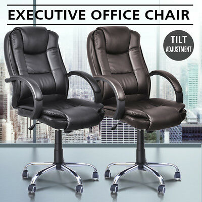 Executive Premium Office Computer Chair PU Leather Metal Base Black Brown