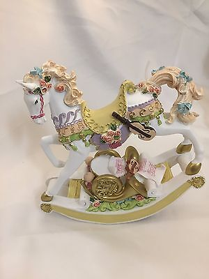 NEW big carousel horse music box pink blue floral brahms lullaby