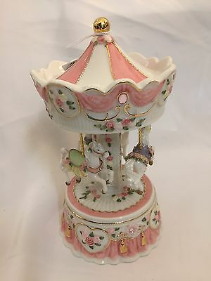 NEW carousel horses music box pink floral white memories cats