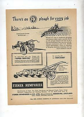 FH Plough Advertisement removed from 1952 Farming Magazine Fisher Humphries