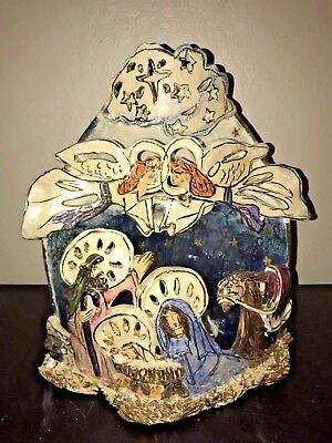 "Blue Sky Clayworks_CHRISTMAS NATIVITY_Royal Goldminc LG 13"" 3-Tier Candle Holder"