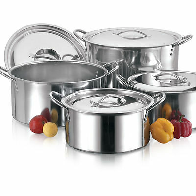 4Pc Large Stainless Steel Catering Deep Stock Soup Boiling Pot / Stockpots Set