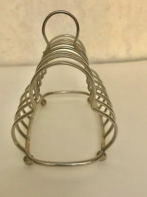 Vintage Silverplate 6 slice Toast Rack Made in England  Ball Feet PREOWNED