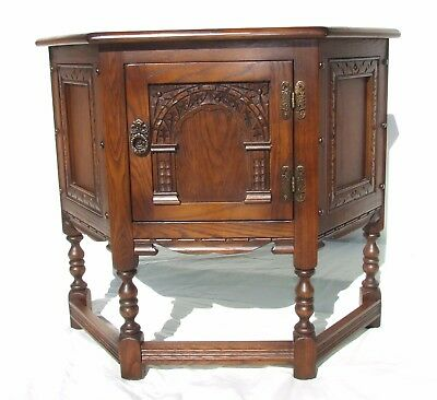 OLD CHARM Reproduction Antique Style Oak Credence Table / Hall Side Table