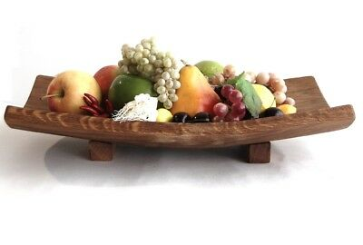 Large Oak Wooden Fruit Bowl Rustic Serving