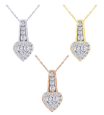 Holiday Sale 1/4 Ct Round Real Diamond Journey Heart Pendant 14K Gold W/Chain