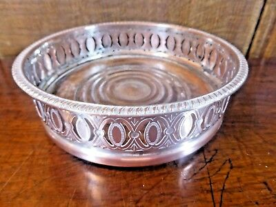 Silver Plate on Copper PIERCED & ENGRAVED COASTER - 13.5cms - C