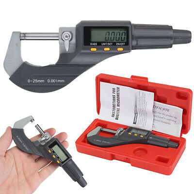 "Professional 0-25mm Digital Electronic Micrometer Outside 0-1""/0.00005"" LCD"