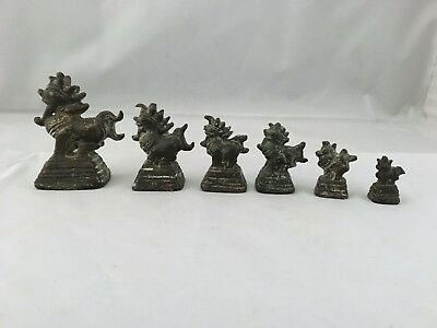 ANTIQUE Rare Thailand Burmese BRONZE OPIUM or TRADE WEIGHTS ,dragon, temple dog
