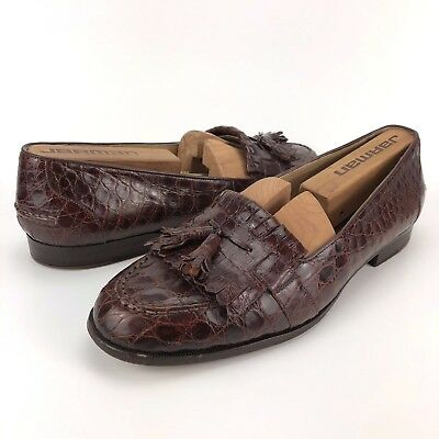 50d233c8aad Cole Haan Bragano Men s SZ 8.5 Caiman Brown Tassel Kilt Loafer Made in Italy