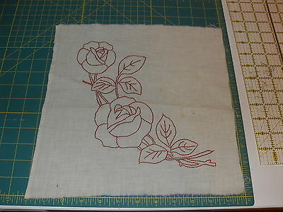 VINTAGE/ANTIQUE QUILT BLOCK: REDWORK EMBROIDERY- red roses flowers