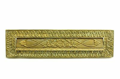 "Vintage 12.75"" Ornate Brass Hinged Letter Plate Mailbox Door Mail Slot Portugal"