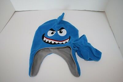 Goofy Monster Face Warm Winter Hat and Mittens Blue Black Boys NWOT