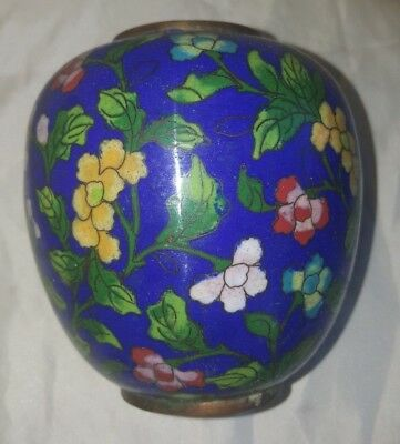19th C. ANTIQUE CHINESE  Blue CLOISONNE COPPER ENAMEL GINGER JAR REPUBLIC PERIOD