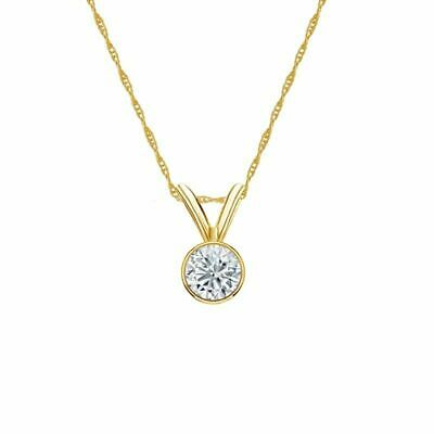 14K Yellow Gold Bezel Round-Cut Diamond Solitaire Pendant 1/5ct G-H, SI2 w/Chain
