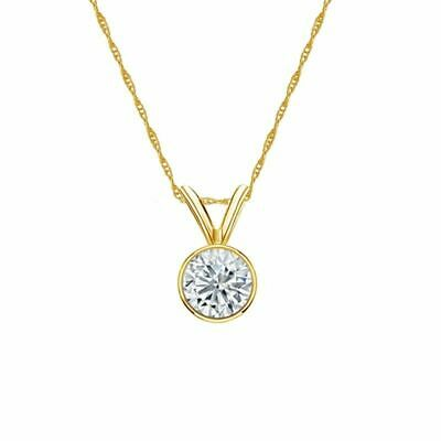 14K Yellow Gold Bezel Round-Cut Diamond Solitaire Pendant 2/5ct G-H, SI1 w/Chain