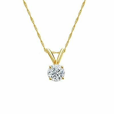 14K Yellow Gold 4-Prong Round-Cut Diamond Solitaire Pendant 1/3ct H-I I1 w/Chain