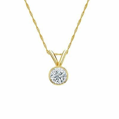 14K Yellow Gold Bezel Round-Cut Diamond Solitaire Pendant 1/3ct G-H, VS2 w/Chain