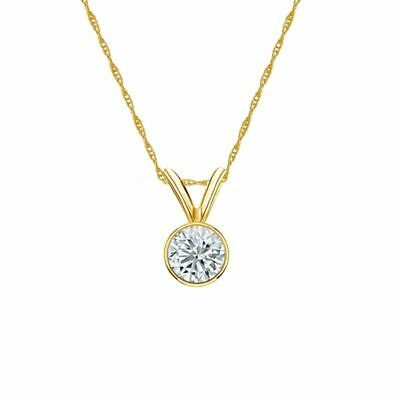 14K Yellow Gold Bezel Round-Cut Diamond Solitaire Pendant 1/3ct H-I, I2 w/Chain