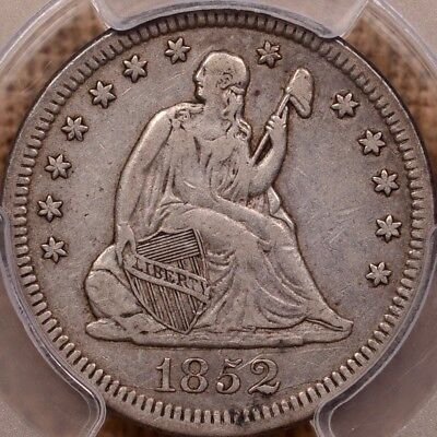 1852 Much Better date Seated quarter, PCGS VF35, appealing   DavidKahnRareCoins