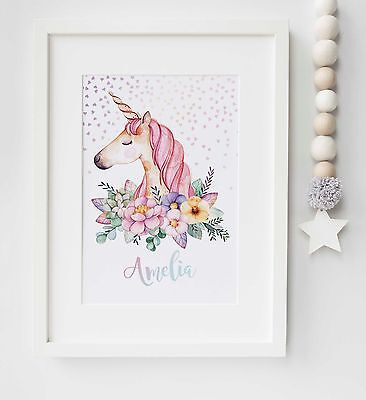 Unicorn Personalised Children's Picture Print Name Wall Art Gift UNFRAMED