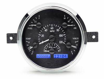 Dakota Digital 49-50 Ford Car Gauges Black Alloy Face~Blue Display VHX-49F-K-B
