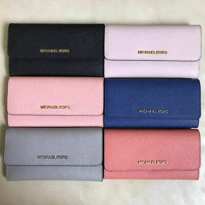 NEW Michael Kors Jet Set Travel Trifold Leather PVC Wallet Checkbook