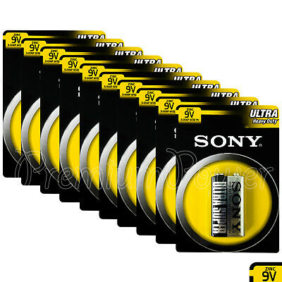 10 x SONY 9V batteries Ultra Heavy Duty Super Zinc Carbon 6F22 Transitor E-Block