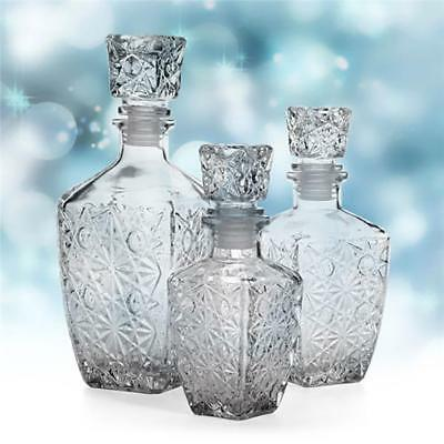 3 Size Vintage Glass Whiskey Liquor Wine Decanter Crystal Bottle Wine Carafe New