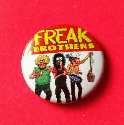 Fabulous Furry Freak Brothers 25mm Pin Button Badge brain on drugs weed 420