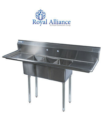 "Stainless Steel 3 Compartment Sink 60"" x 20"" with 2 Drainboards"