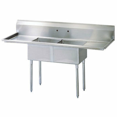 "Stainless Steel 2 Compartment Sink 72"" x 24"" with 2 Drainboards"