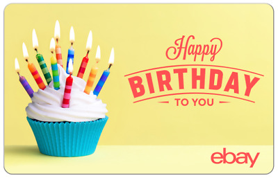 Happy Birthday Cupcakes - eBay Digital Gift Card $25 to $200 -Email delivery