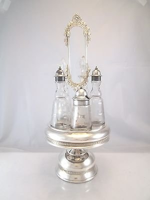 Splendid Victorian Large Rotating Cruet Set Silver Plate Castor Glass Bottles