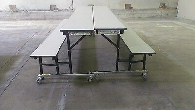 (Set of 4) Convertible Lunchroom Cafeteria TABLE W/ Bench, 8 ft LENGTH, WE SHIP