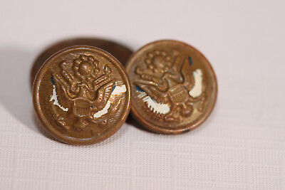 Pair Vintage Metal Pinback Pins - Military Eagle Shield Olive Branch - J101