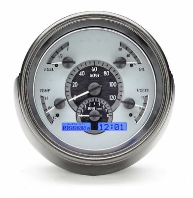 Dakota Digital 1951 Ford Car Gauges Silver Alloy Face~Blue Display VHX-51F-S-B