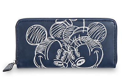 Disney Boutique Park Authentic Wallet✿ Mickey Minnie Mouse Embroidered Navy Blue