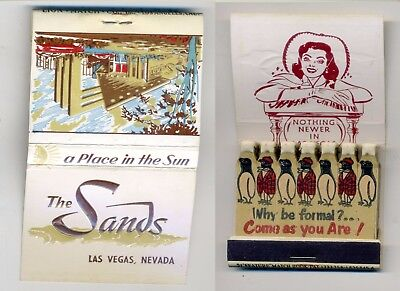 Casino Full Matchbook 21 Feature The Sands Las Vegas Nevada formal penguins