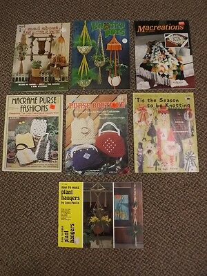 Vtg Estate Lot UNIQUE MACRAME PATTERNS BOOKS Plant & Wall Hangers Purses XMas ++