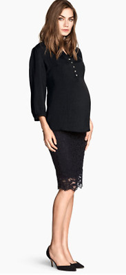 Women's H&M Mama NWOT Maternity Black Lace Skirt Elastic Waistband Size XL